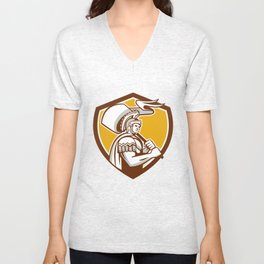 Roman Centurion Carry Flag Crest Retro Unisex V-Neck
