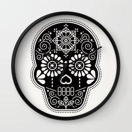 Día de Muertos Calavera • Mexican Sugar Skull – Black Palette Wall Clock