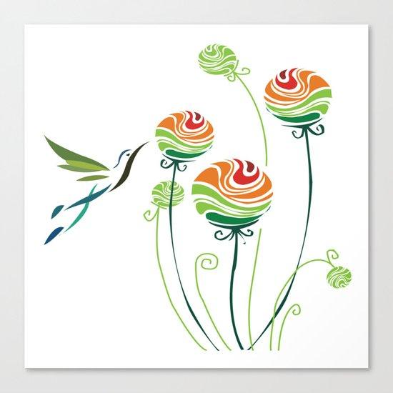 Hummingbird And Flowers Canvas Print