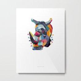 Rhino Color Geometric Metal Print