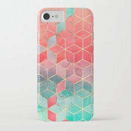 Rose And Turquoise Cubes iPhone Case
