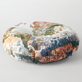 world map colors splats Floor Pillow