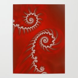 Red and White Striped Swirl - Fractal Art Poster