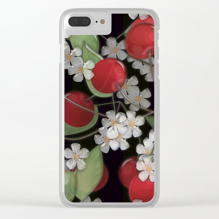 Cherry Charm, Imitation of glass Clear iPhone Case