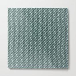 Deep Aqua Blue Cross Weave Texture Metal Print