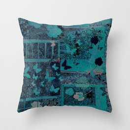 butterflies_I turquoise Throw Pillow