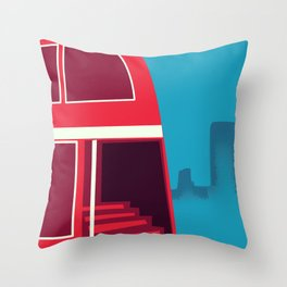 Love London vintage bus travel poster Throw Pillow