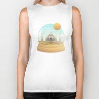 globe Biker Tanks featuring Sand Globe by Moremo
