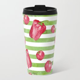 Red Bell Peppers on Green Stripes Travel Mug