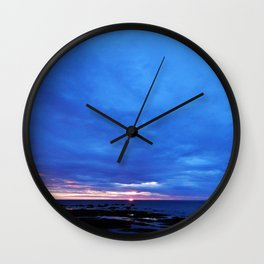 Cloudy Day Sunset on the Sea Wall Clock