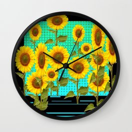 SUNFLOWER FIELD BLACK-TURQUOISE GRAPHIC Wall Clock