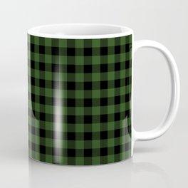 Dark Forest Green and Black Gingham Checkcom Coffee Mug