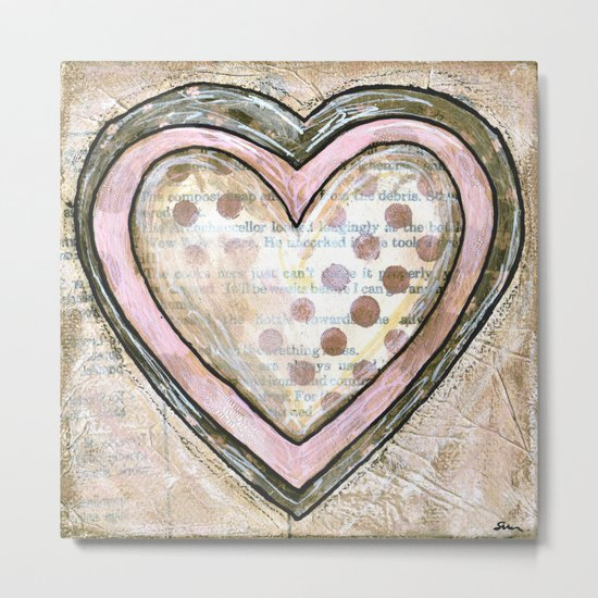 love hearts pink Metal Print