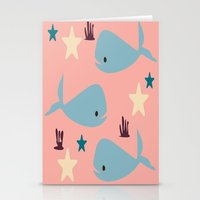 the whale Stationery Cards featuring Whale by BruxaMagica_susycosta