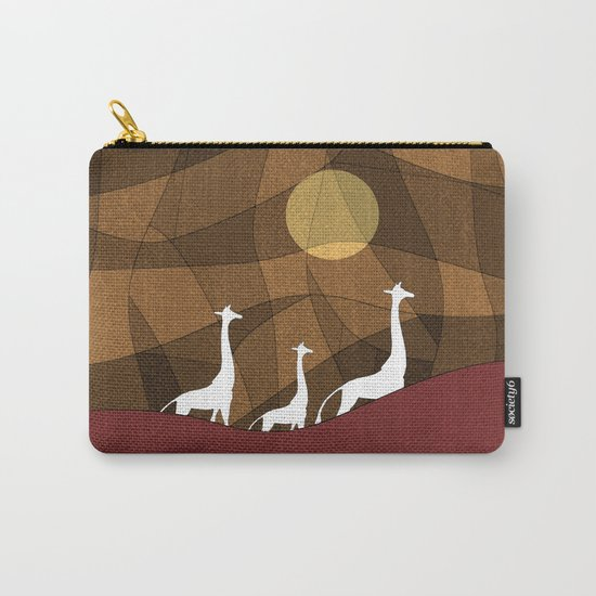 Beautiful warm giraffe family design Carry-All Pouch