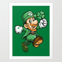 Lucky Mario Leprechaun Art Print