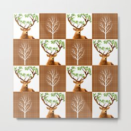 Woodland Deer Quilt Metal Print