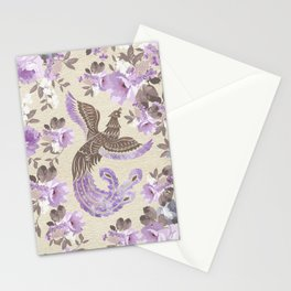 Phoenix Bird with watercolor flowers Stationery Cards