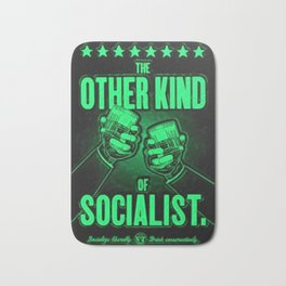 "Vintage ""The Other Kind of Socialist"" Alcoholic Lithograph Advertisement in bright green Bath Mat"