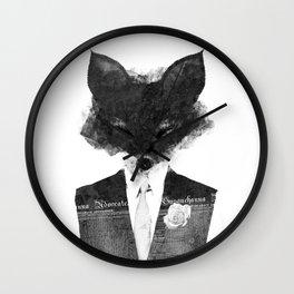 minima - dapper fox | noir Wall Clock