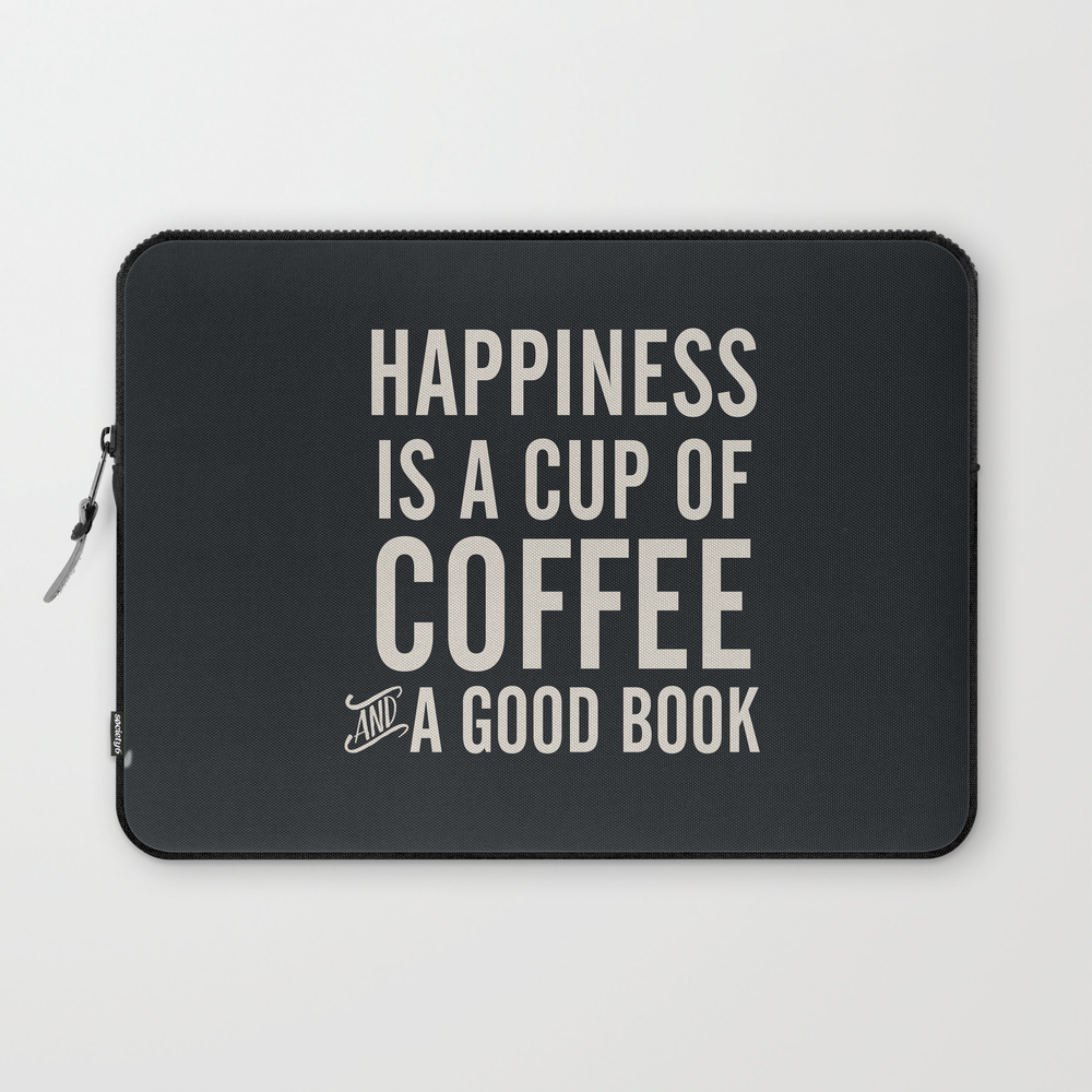 Happiness Is A Cup Of Coffee And A Good Book, Vint… Laptop Sleeve LSV6820351