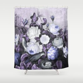 Periwinkle Roses Gray Birds Temple of Flora Shower Curtain