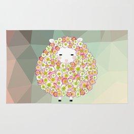 Pastel Tone Flowery Sheep Design Rug