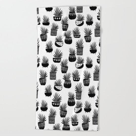 houseplant linocut aloe vera art botanical black and white lino printmaking art minimal modern Beach Towel