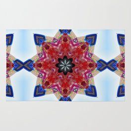 Red and blue classic trucks kaleidoscope Rug