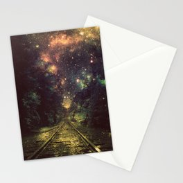 Train Tracks Next Stop Anywhere Dark Stationery Cards