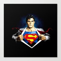 superman Canvas Prints featuring Superman by DavinciArt
