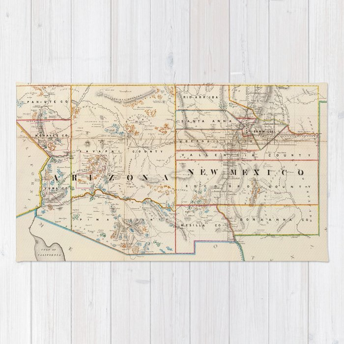 Vintage Map of Arizona and New Mexico (1866) Rug by bravuramedia ...