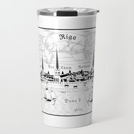 Riga 1544 (black on white) Travel Mug