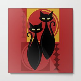 Devilishly Delightful Atomic Age Black Kitschy Cats Metal Print