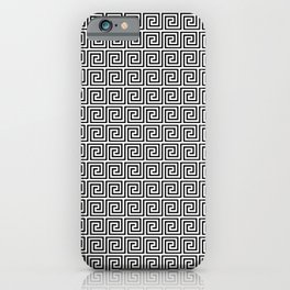 Large Black and White Greek Key Interlocking Repeating Square Pattern iPhone Case