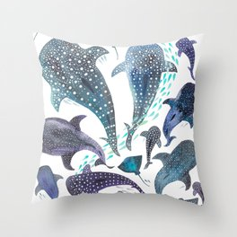 Whale Shark, Ray & Sea Creature Play Print Throw Pillow
