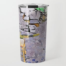 Tortora glimpse with chair and Italian flag painted on the wall of building Travel Mug