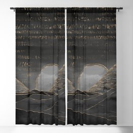 Egyptian Pyramids Abstract Watercolor and Gold Blackout Curtain