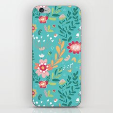Teal Garden Hearts iPhone & iPod Skin