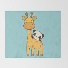 Cute and Kawaii Giraffe and Panda Throw Blanket