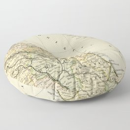 Retro & Vintage Map of Northern Italy Floor Pillow