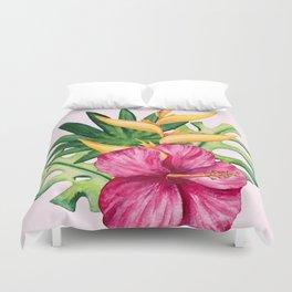 Tropical Hibiscus Summer Bouquet Duvet Cover