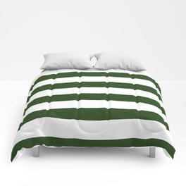 Large Dark Forest Green and White Cabana Tent Stripes Comforters