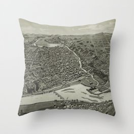 Vintage Pictorial Map of Chippewa Falls WI (1886) Throw Pillow