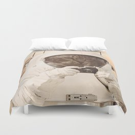 Astronaut Cat on Mars Duvet Cover