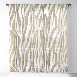 Chic faux gold white modern zebra animal print pattern Sheer Curtain