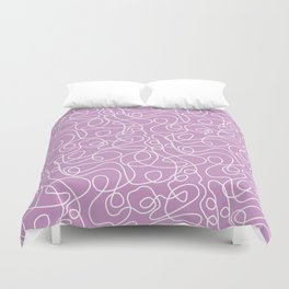 Doodle Line Art   White Lines on Lavender Duvet Cover