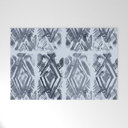 Simply Ikat Ink in Indigo Blue on Sky Blue Welcome Mat