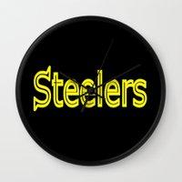 steelers Wall Clocks featuring Steelers - #1 by Judy Palkimas