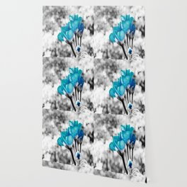 Turquoise FloWERS Pop of Color Wallpaper